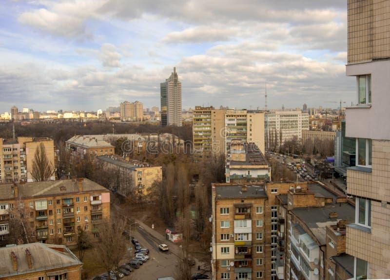 Widok Solomenka okręg Kyiv Kijowski pejza? miejski, Ukraina zdjęcia royalty free