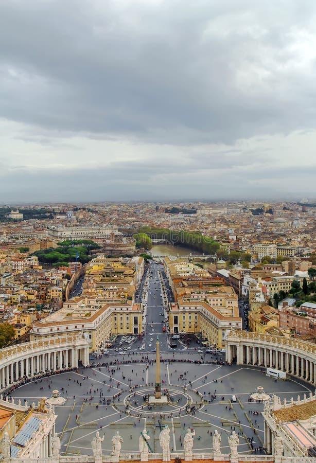 Widok St Peter kwadrat i Rzym, Watykan obraz stock