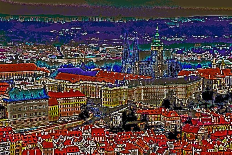 Widok St Vitus katedra w Praga plakat fotografia stock