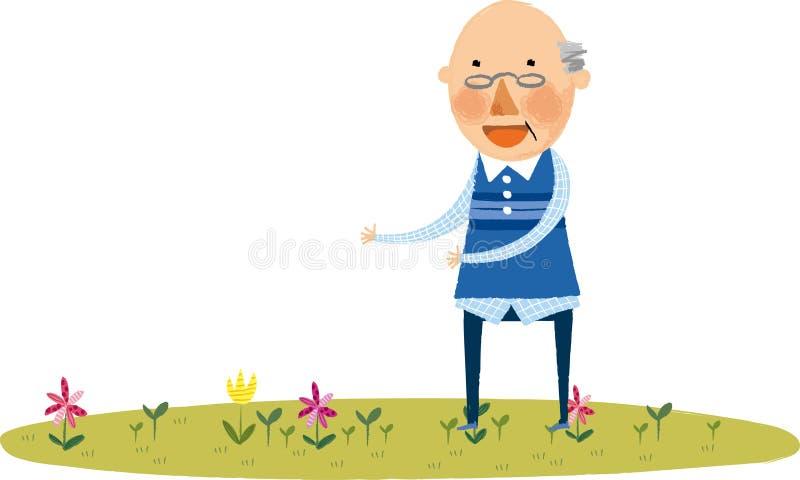 Widok stary człowiek ilustracja wektor
