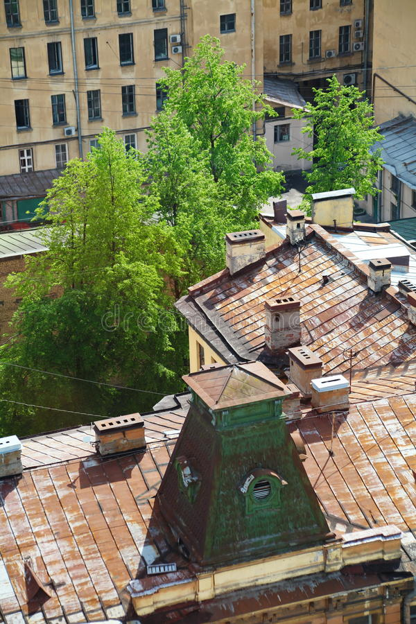 Widok stary Europejski miasto od wzrosta ptaka lot Święty Petersburg, Rosja, Północny Europa obrazy stock