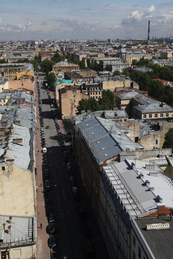 Widok stary Europejski miasto od wzrosta ptaka lot Święty Petersburg, Rosja, Północny Europa zdjęcia stock