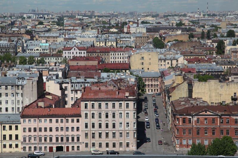 Widok stary Europejski miasto od wzrosta ptaka lot Święty Petersburg, Rosja, Północny Europa fotografia royalty free