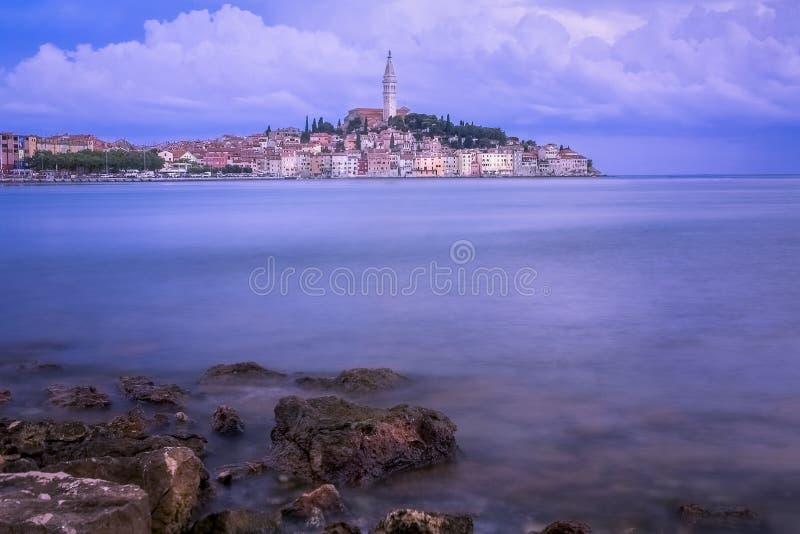 Widok stary grodzki Rovinj w Istria półwysepie, Chorwacja zdjęcie stock