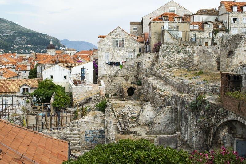 Widok Stary miasteczko Dubrovnik (Archeological wykopaliska) obraz royalty free