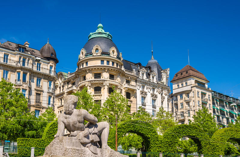Widok statua Aurore w Lausanne fotografia stock