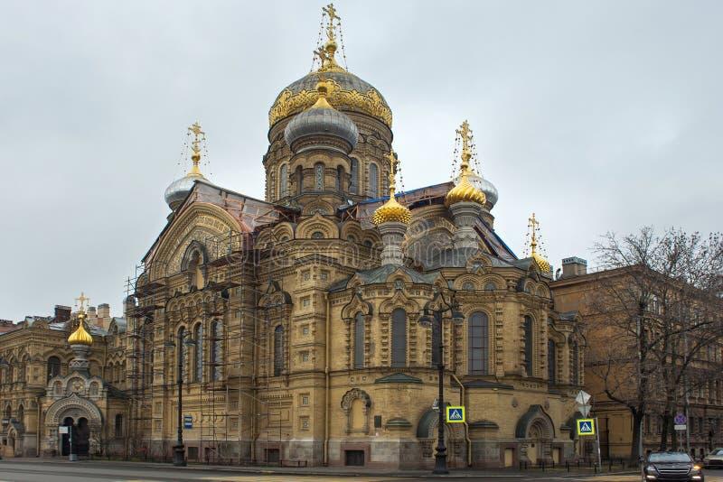 Widok stauropegial ortodoksyjny wniebowzięcie kościół na Vasilievsky wyspie St Petersburg, Rosja obrazy stock
