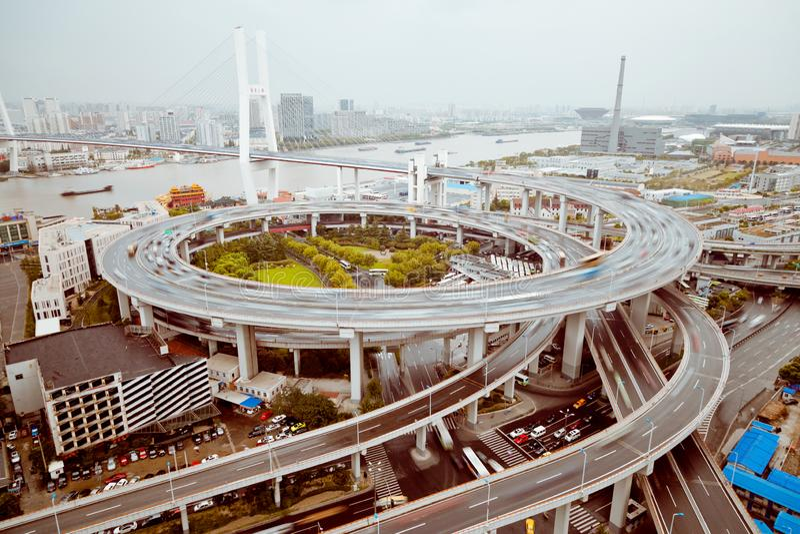 widok Szanghaj Nanpu most, Szanghaj, Chiny widok Szanghaj Nanpu most, Szanghaj, Chiny zdjęcia royalty free