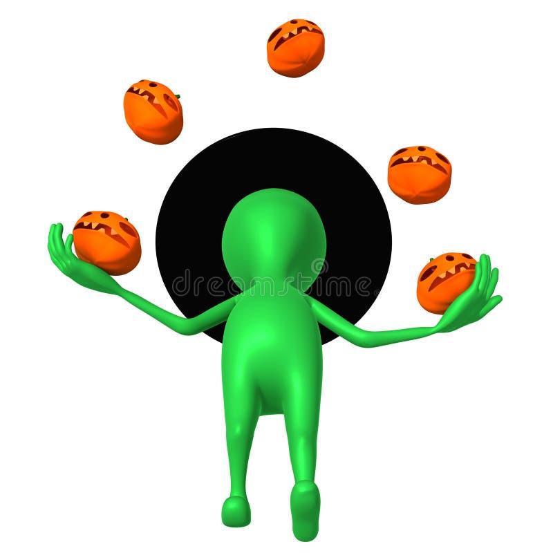 Widok Szczeniaka żonglerka Z Małymi Pupkins Zręcznie Obrazy Stock