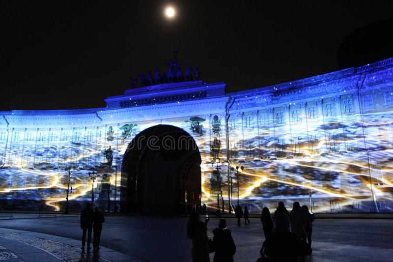 Widok sztaba generalnego łuk podczas świętowania miasto wakacyjny festiwal światło zdjęcie royalty free