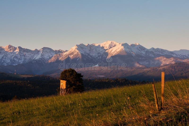 Widok Tatras od wioski Å  apszanka zdjęcia royalty free