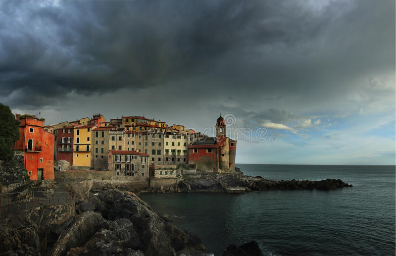 Widok Tellaro, Liguria zdjęcia royalty free