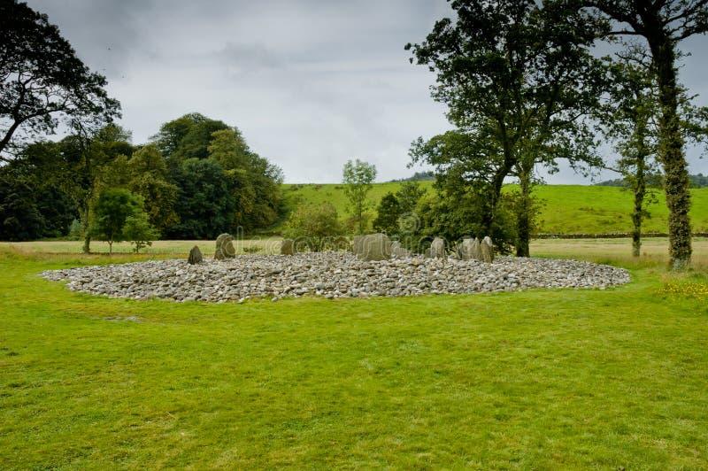 Widok Templewood kamienia okrąg, Kilmartin roztoka, Szkocja zdjęcia stock