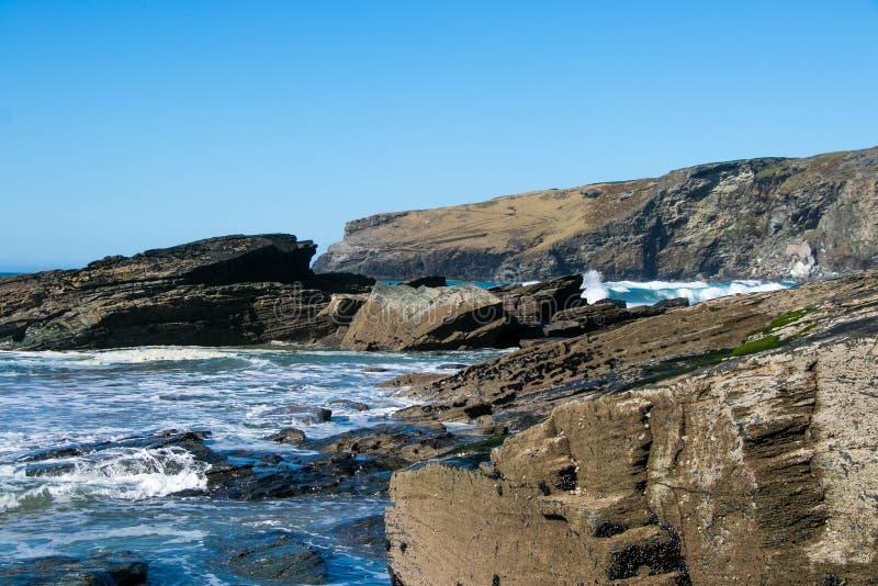 Widok Trebarwith pasemko w Cornwall, Anglia obraz royalty free