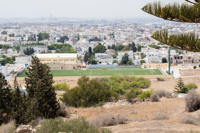 Widok Tunis od ruin Carthage, Tunezja, Afryka obraz royalty free