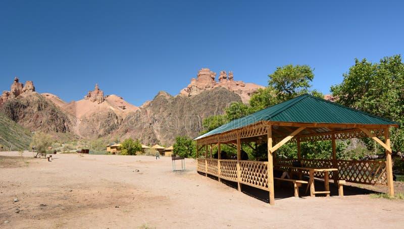 Widok turystyczny kurort Charyn park narodowy Almaty region kazakhstan zdjęcia royalty free
