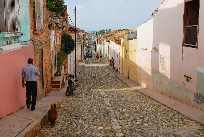 Widok ulica miasteczko w Trinidad, Kuba fotografia royalty free