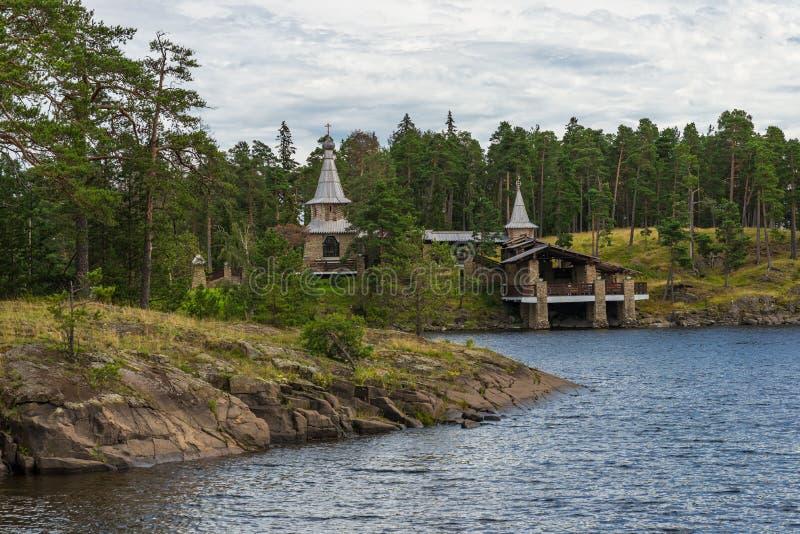 Widok Valaam kaplica święty zdjęcia royalty free