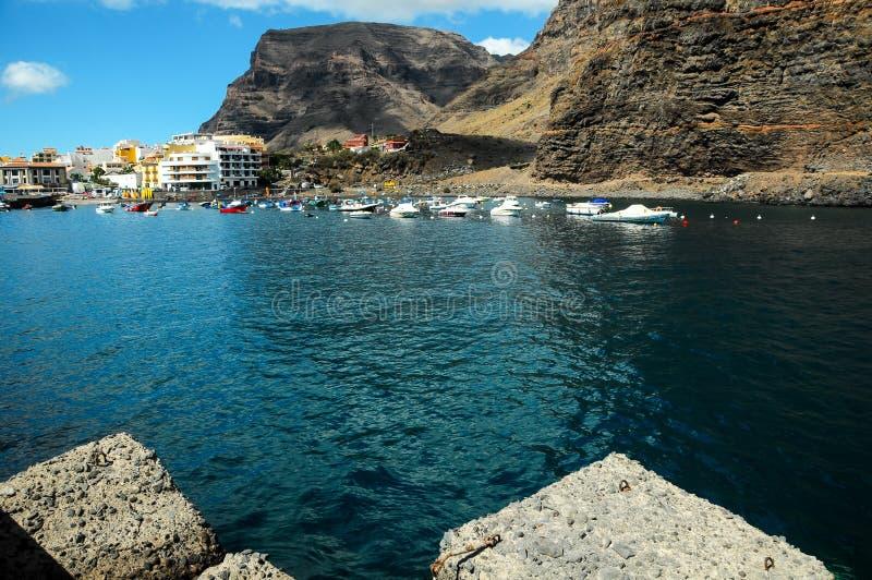 Widok Valle Gran Rey los angeles Gomera obraz royalty free