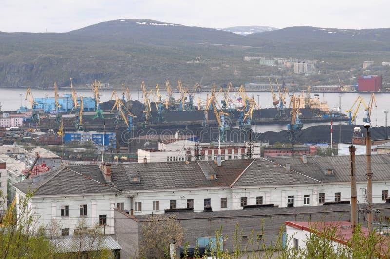 Widok węglowy terminal Murmansk port obrazy royalty free