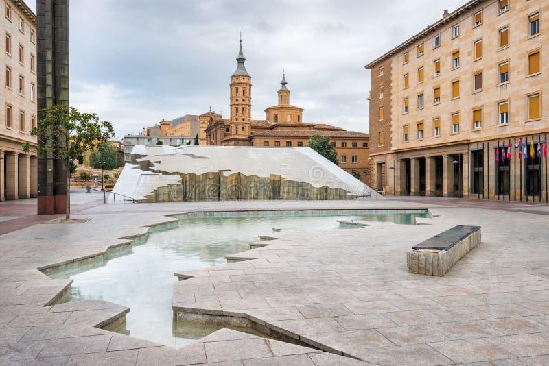 Widok w centrum Zaragoza zdjęcie stock