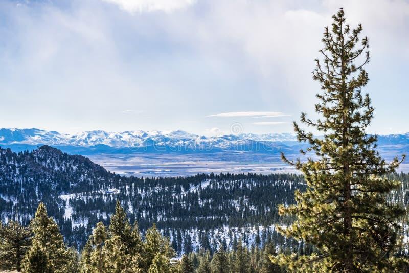 Widok w kierunku dolinnego otaczającego Carson miasta na markotnym wiosna dniu, Nevada obrazy royalty free