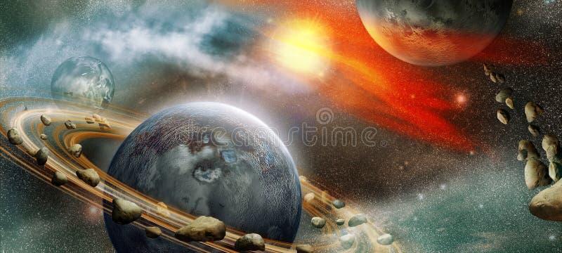 Widok w kosmos ilustracja wektor