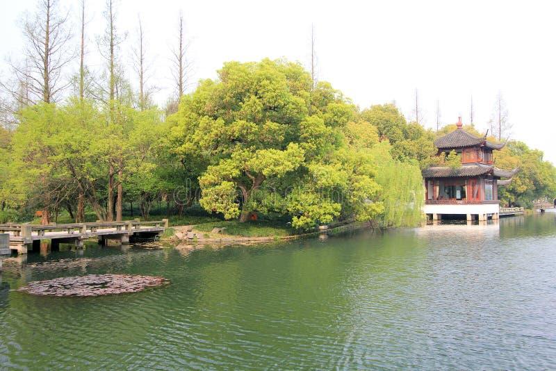 Widok w Zachodnim Jeziornym Kulturalnym krajobrazie Hangzhou zdjęcie stock