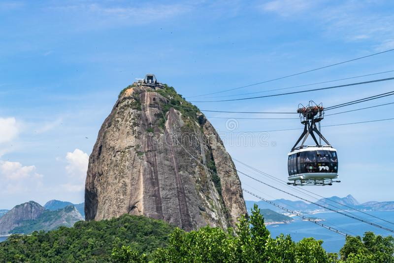 Widok wagon kolei linowej przy zmierzchem, pokazywa? kilka punkty zwrotnych i pla?e w Rio De Janeiro fotografia royalty free