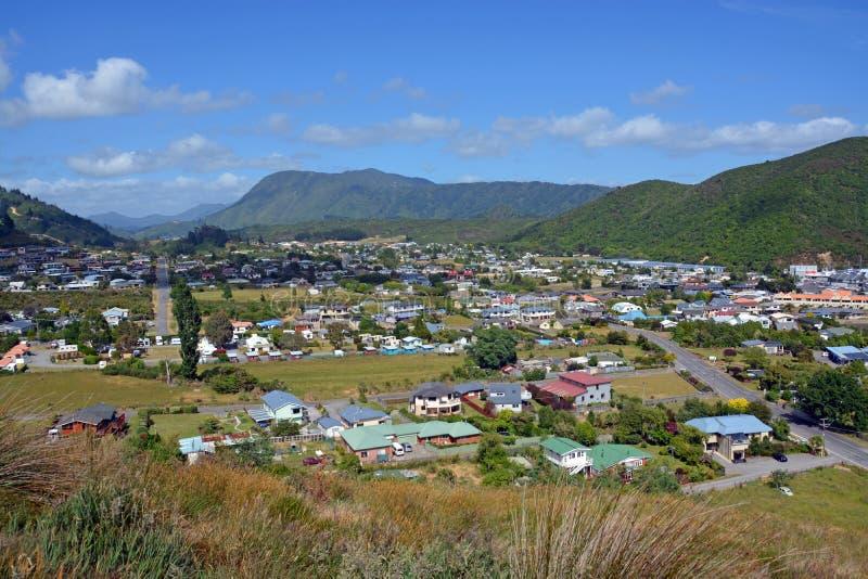 Widok Waikawa dolina & Picton, Nowa Zelandia zdjęcia stock