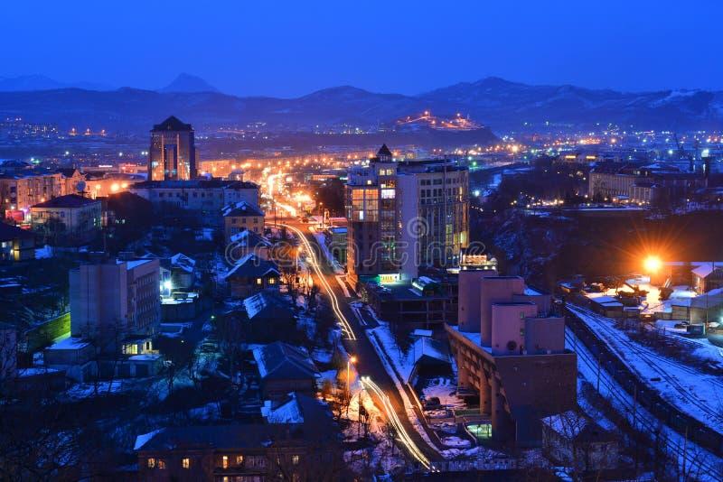 Widok wieczór miasto Nakhodka Primorsky Krai, Rosja wygrana zdjęcie royalty free