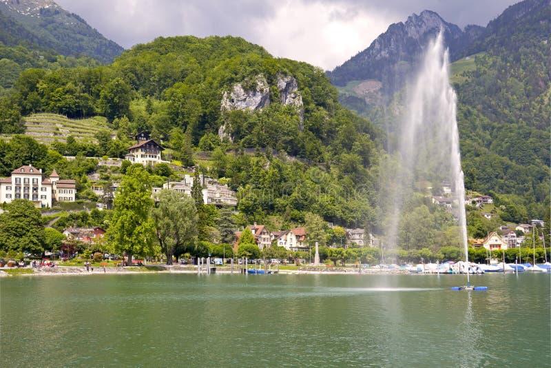 Widok wioska Weesen, Szwajcaria zdjęcia royalty free
