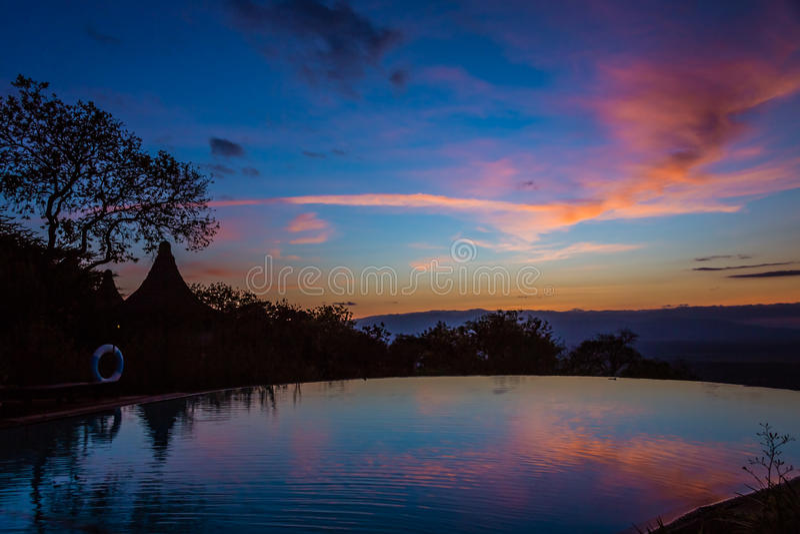 Widok wschód słońca na Jeziornym Manyara obraz stock