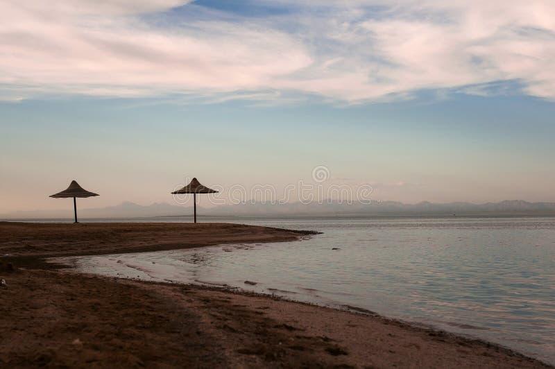 Widok wybrzeże linia w Hurghada, Egipt, Czerwony morze fotografia royalty free