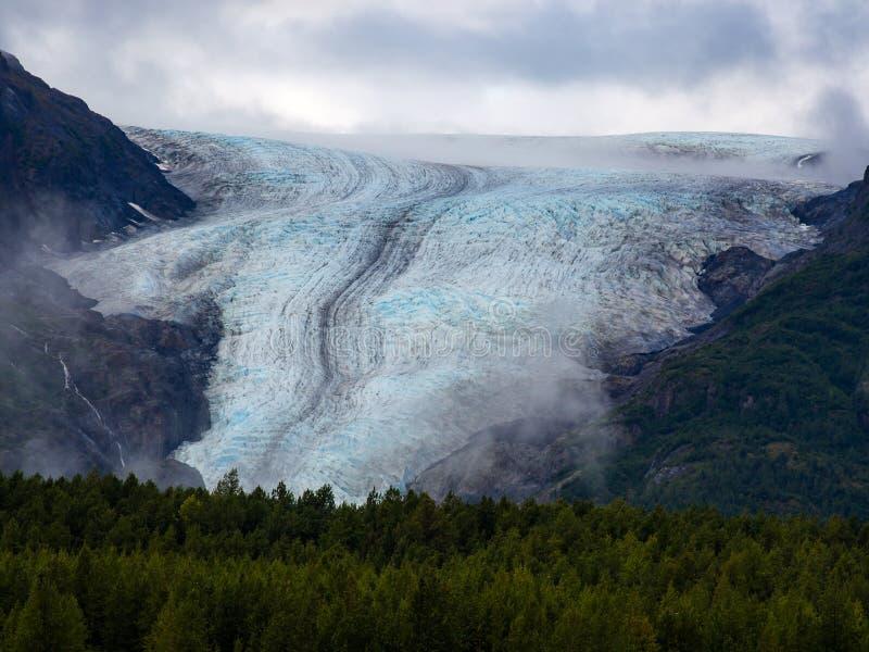 Widok wyjście lodowiec, Kenai Fjords park narodowy fotografia stock