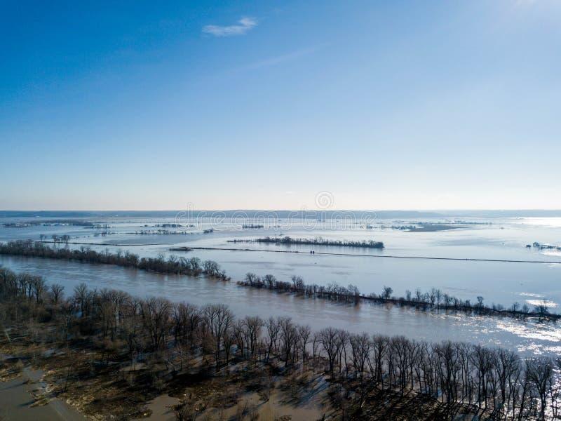 Widok wylew Missouri rzeka w Nebraska i Iowa obraz royalty free
