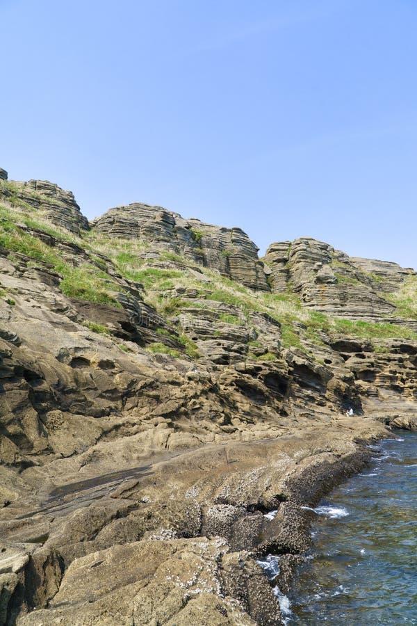 Widok Yongmeori wybrzeże w Jeju wyspie obrazy royalty free