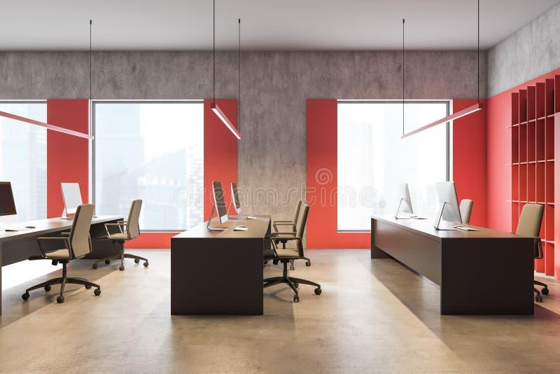 Widok z boku — jasnoczerwony loft office ilustracji