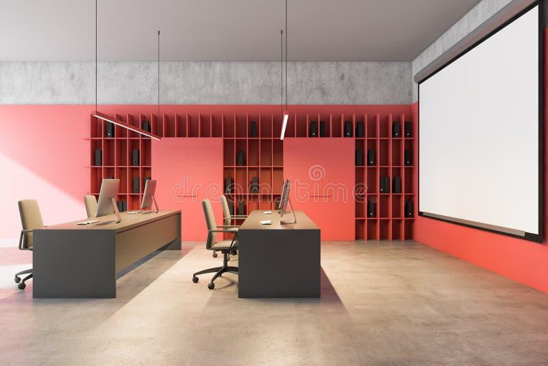 Widok z boku, jasny czerwony ekran dotykowy biura ilustracja wektor