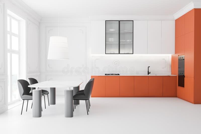 Widok z boku kuchni białej i pomarańczowej z tabelą royalty ilustracja