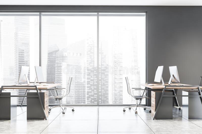 Widok z boku szarego biura otwartego obszaru ilustracja wektor