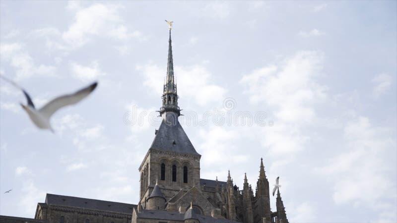 Widok z dołu starożytnego pięknego zamku otoczonego przez latające mewy na niebieskim, mętnym tle Akcja Niesamowite zdjęcia stock
