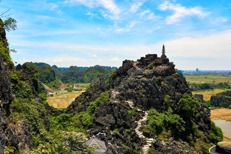 Widok z góry Mua Cave w Ninh Binh Tam Coc zdjęcia royalty free