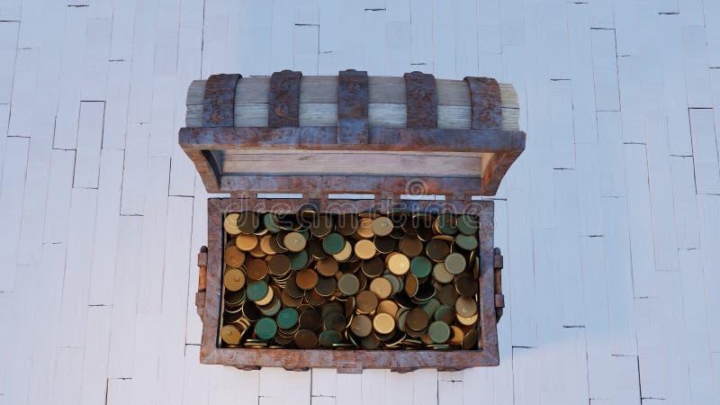 Widok z góry na stare drewno z rdzawym metalowym Chest Open i pełen złotych monet royalty ilustracja