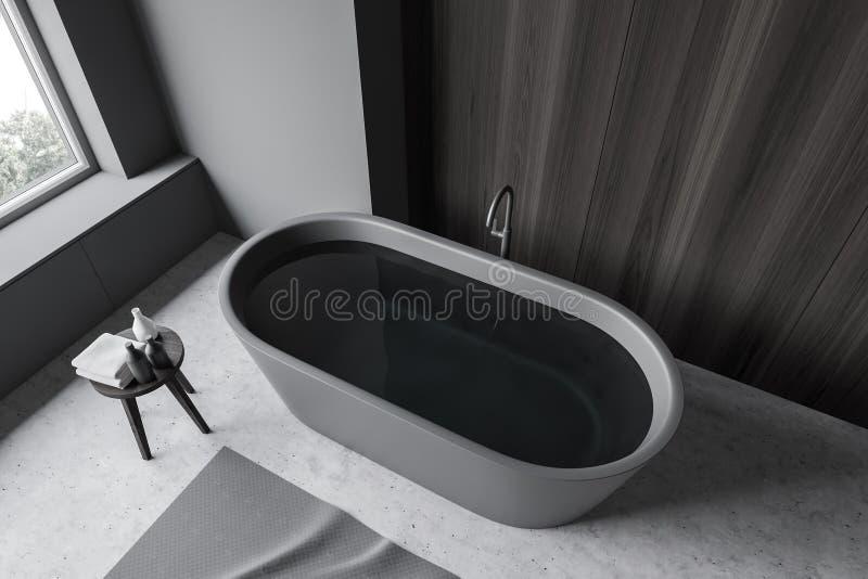 Widok z góry szarej i drewnianej łazienki z wanną ilustracja wektor