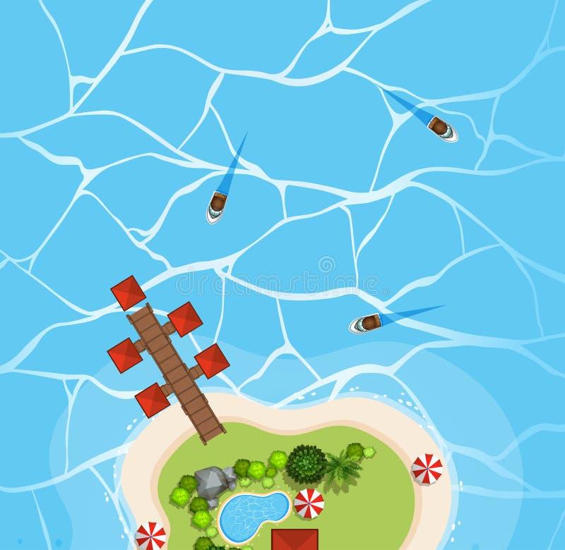 Widok z lotu ptaka łodzie na oceanie ilustracji