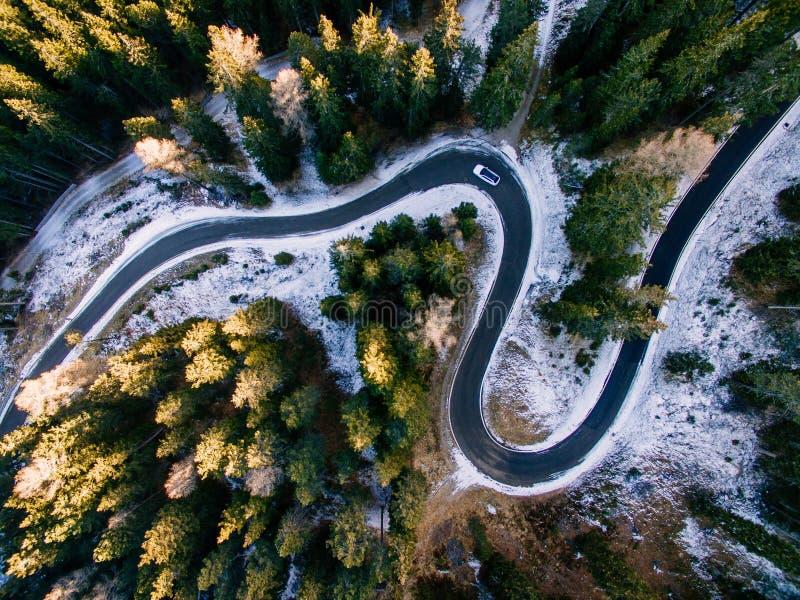 Widok z lotu ptaka śnieżny las z drogą Chwytający od above z trutniem zdjęcie royalty free