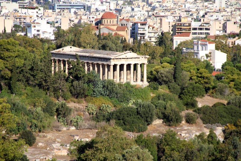 Widok z lotu ptaka świątynia Hephaestus w Ateny zdjęcie royalty free