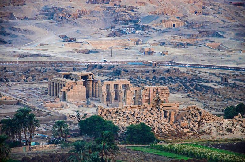 Widok z lotu ptaka świątynia Ramesseum dla Ramses drugi, Thebes, Luxor obrazy stock