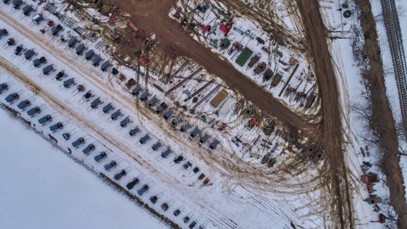 Widok Z Lotu Ptaka Amish zimy Borowinowa sprzeda? w b?ocie obraz royalty free